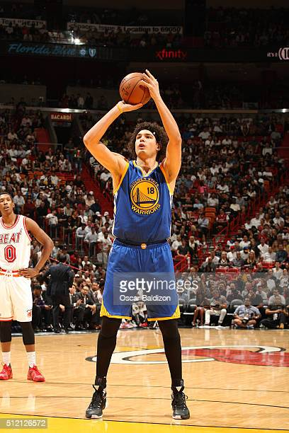 Anderson Varejao of the Golden State Warriors shoots a free throw against the Miami Heat on February 24 2016 at American Airlines Arena in Miami...