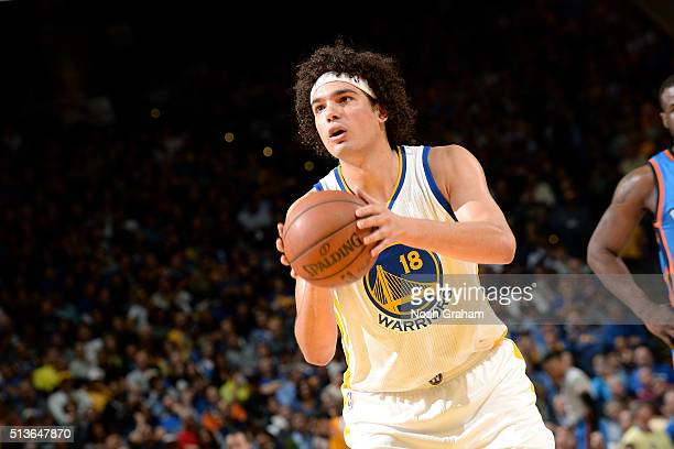 Anderson Varejao of the Golden State Warriors shoots a free throw during the game against the Oklahoma City Thunder on March 3 2016 at ORACLE Arena...