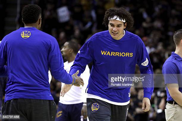 Anderson Varejao of the Golden State Warriors warms up prior to Game 6 of the 2016 NBA Finals against the Cleveland Cavaliers at Quicken Loans Arena...