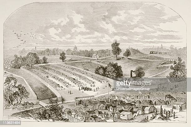 Andersonville prison officially known as Camp Sumter where Union prisoners were kept during the American Civil War From a 19th century illustration