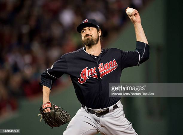 Andew Miller of the Cleveland Indians pitches against the Boston Red Sox in the sixth inning of game three of the American League Division Series on...
