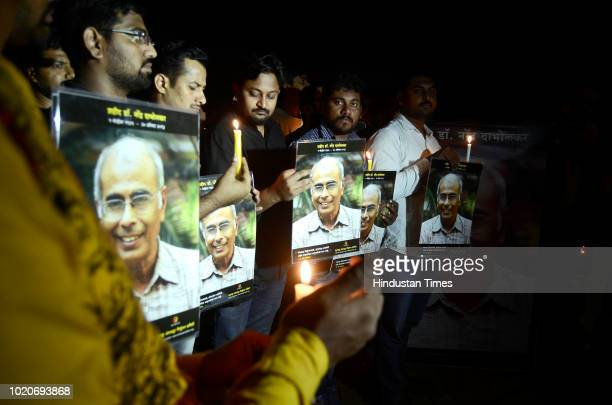 People at 'Jawaab Do Who killed Dabholkar' an event organised on the occasion of 5th death anniversary of Dr Narendra Dabholkar by Maharashtra...