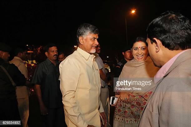 Andhra Pradesh Chief Minister Chandrababu Naidu with Union Minister Smriti Irani at the wedding reception of Union Minister Nitin Gadkari's daughter...