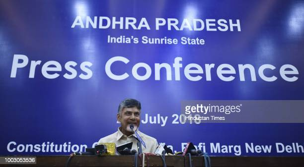 Andhra Pradesh Chief Minister N Chandrababu Naidu addressing a press conference at Constitutional Club on July 21 2018 in New Delhi India Chandrababu...