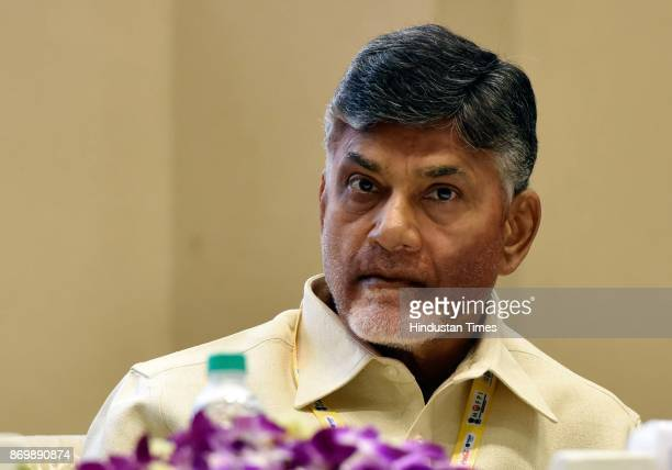 Andhra Pradesh Chief Minister N Chandrababu Naidu during the inauguration of World Food India Conference at Vigyan Bhavan on November 3 2017 in New...