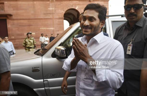 Andhra Pradesh Chief Minister YS Jaganmohan Reddy arrives at North Block to meet Union Home Minister Amit Shah on June 14, 2019 in New Delhi, India.