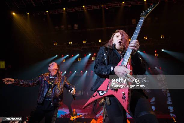 Andi Deris and Kai Hansen during a concert as part of Pumpkins United World Tour at Luna Park on November 8 2018 in Buenos Aires Argentina