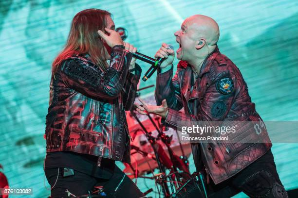 Andi Deris and Michael Kishe of Helloween perform at Forum on stage on November 18 2017 in Milan Italy