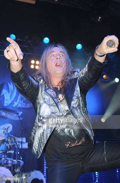 Andi Deris of Helloween performs on stage at HMV Forum on December 5 2010 in London England