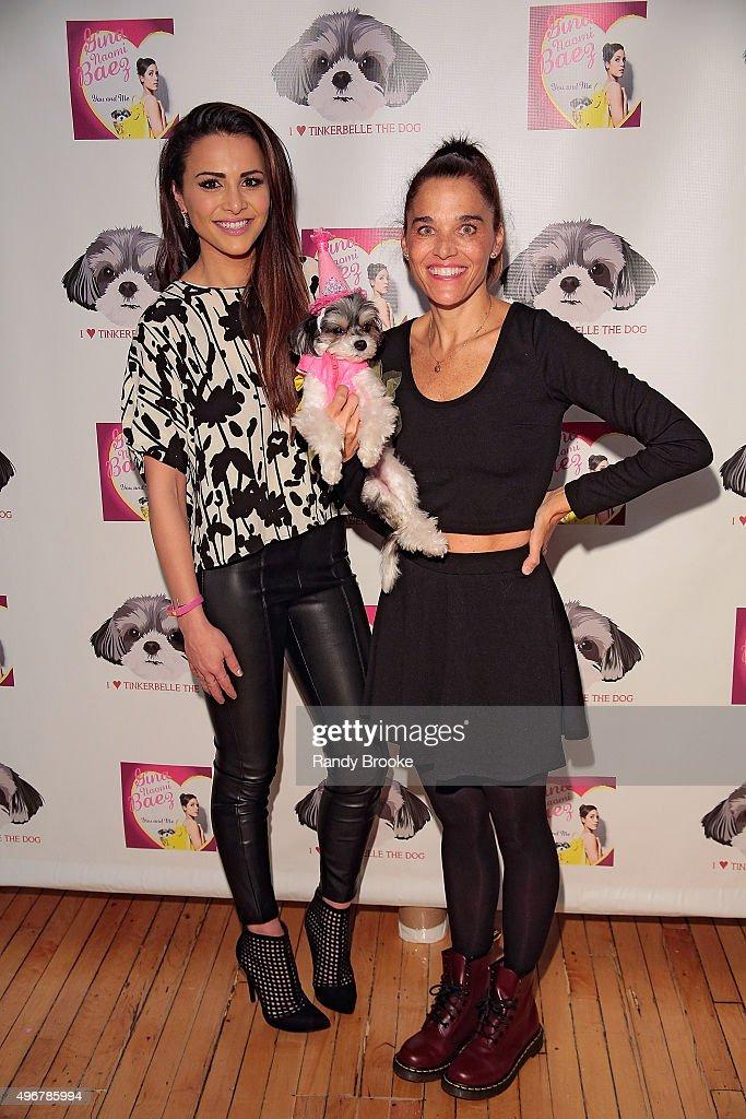 Andi Dorfman and Sam Carrell pose during the Andi Dorfman Celebrates Tinkerbelle The Dog's Birthday at Inglot Cosmetics on November 11, 2015 in New York City.