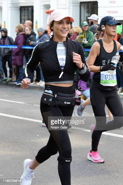 Andi Dorfman is seen running at Mile 8 during the 2019 TCS New York City Marathon on November 03 2019 in New York City