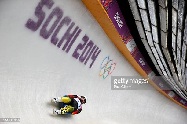 Andi Langenhan of Germany competes during the Men's Luge Singles on Day 2 of the Sochi 2014 Winter Olympics at Sliding Center Sanki on February 9...