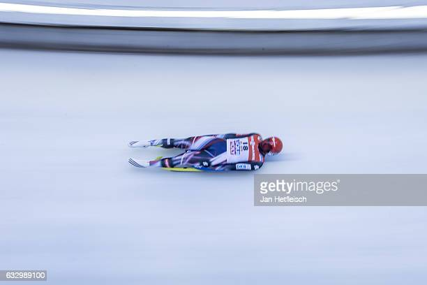 Andi Langenhan of Germany competes in the first heat of the Men's Luge competition during the third day of the FILWorld Championships at...