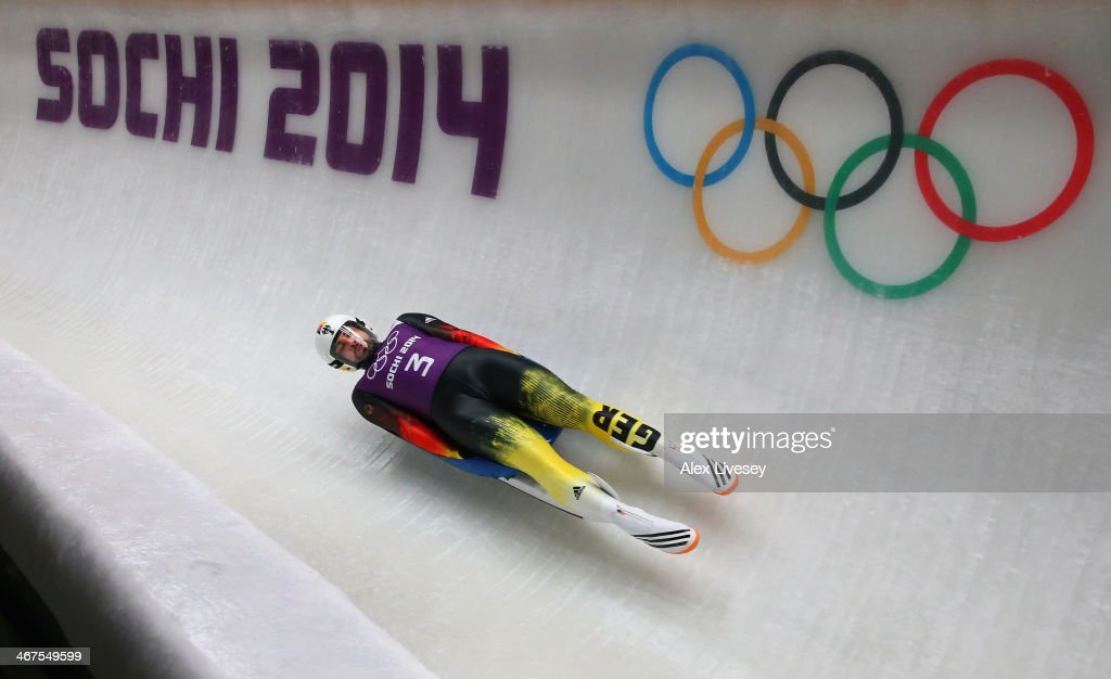 Andi Langenhan of Germany in action during a Men's Singles Luge training session ahead of the Sochi 2014 Winter Olympics at the Sanki Sliding Center on February 6, 2014 in Sochi, Russia.at on February 7, 2014 in Sochi, .