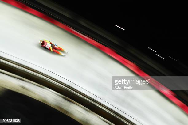 Andi Langenhan of Germany slides during the Men's Singles Luge on day one of the PyeongChang 2018 Winter Olympic Games at Olympic Sliding Centre on...