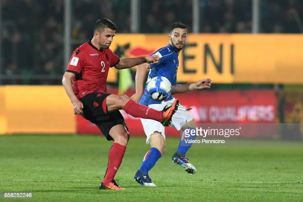 Andi Lila of Albania in action against Mattia De Sciglio of Italy during the FIFA 2018 World Cup Qualifier between Italy and Albania at Stadio Renzo...