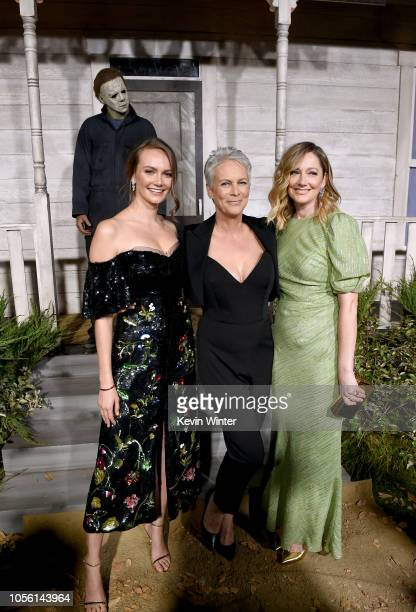 Andi Matichak Jamie Lee Curtis and Judy Greer attend the Universal Pictures' Halloween premiere at TCL Chinese Theatre on October 17 2018 in...