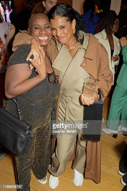 Andi Oliver and Neneh Cherry attend the Neneh Cherry and iD celebration of 30 years of 'Raw Like Sushi' at The London EDITION on January 23 2020 in...