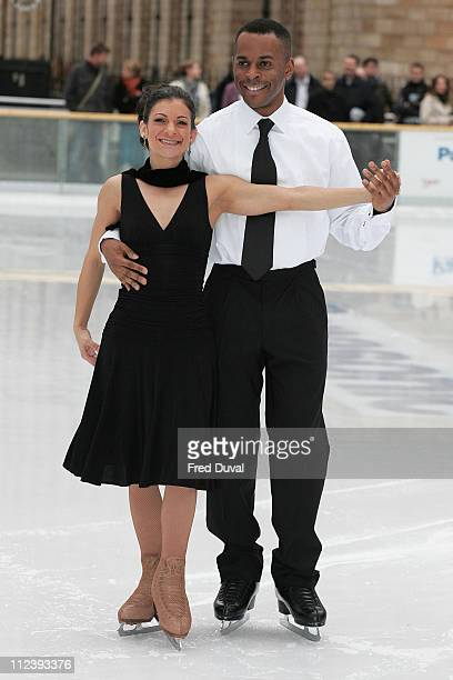 Andi Peters with Tamara Sharp during 'Dancing on Ice' TV Press Launch at Natural History Museum in London Great Britain