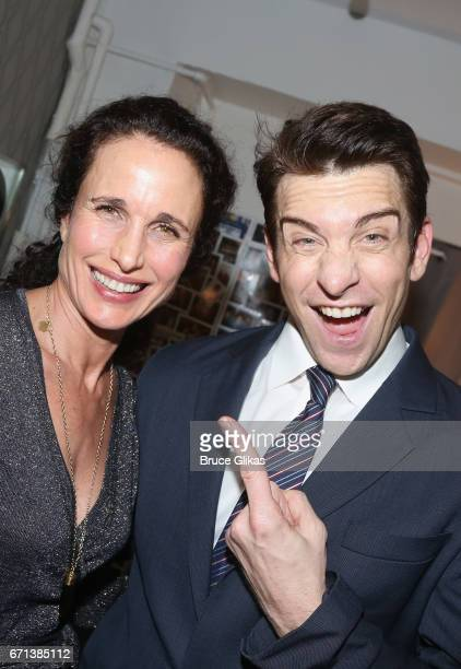 Andie MacDowell and Andy Karl pose backstage at the hit musical based on the film Groundhog Day on Broadway at The August Wilson Theater on April 21...