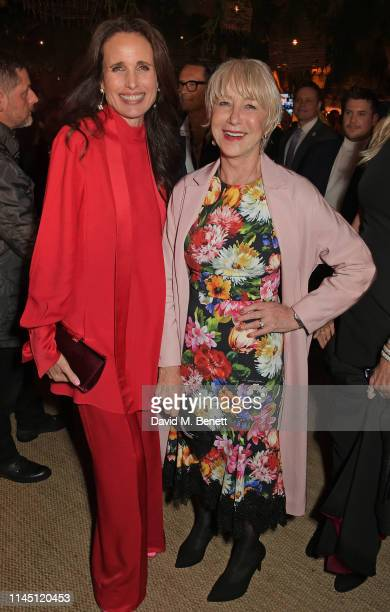 Andie MacDowell and Dame Helen Mirren at Nikki Beach for the HFPA Participant Media event honoring Help Refugees on May 19 2019 in Cannes France