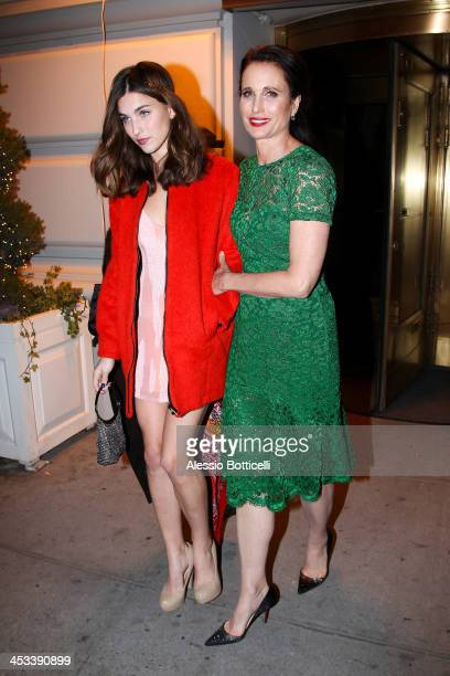 Andie MacDowell and daughter Rainey Qualley seen leaving their Manhattan Hotel on December 3 2013 in New York City