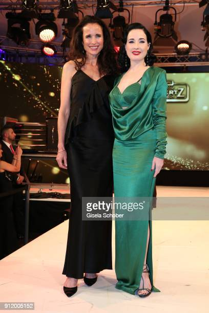 Andie MacDowell and Dita von Teese during the 20th Lambertz Monday Night 2018 at Alter Wartesaal on January 29 2018 in Cologne Germany