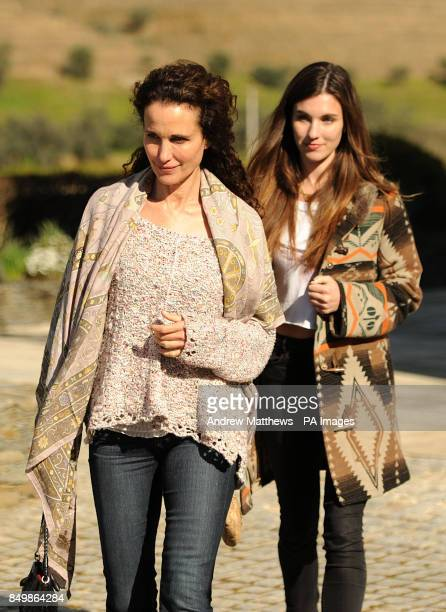 Andie MacDowell and her daughter Rainey Qualley during a visit to the Quinta das Carvalhas vineyard of the Real Companhia Velha winery in the Douro...