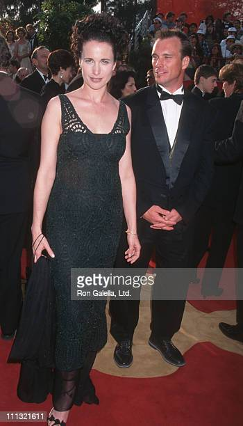 Andie MacDowell and husband Paul Qualley during The 69th Annual Academy Awards Arrivals at Shrine Auditorium in Los Angeles California United States