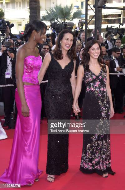 Andie MacDowell and Natalie Imbruglia during Cannes 2002 Palmares Awards Ceremony Arrivals at Palais des Festivals in Cannes France