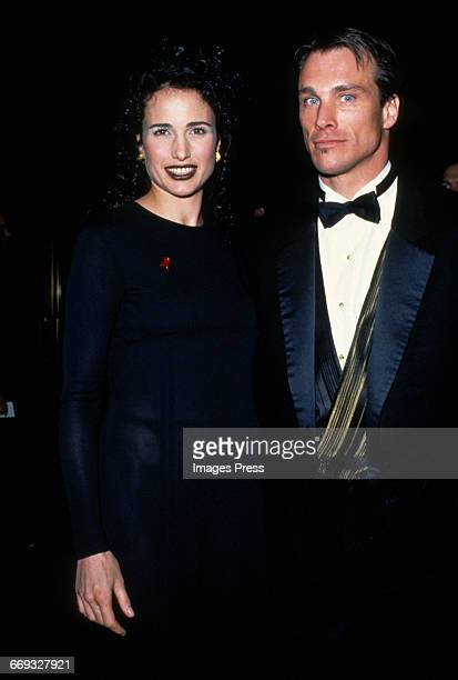 Andie MacDowell and Paul Qualley attend the 12th Annual Council of Fashion Designers of America Awards at Lincoln Center circa 1993 in New York City