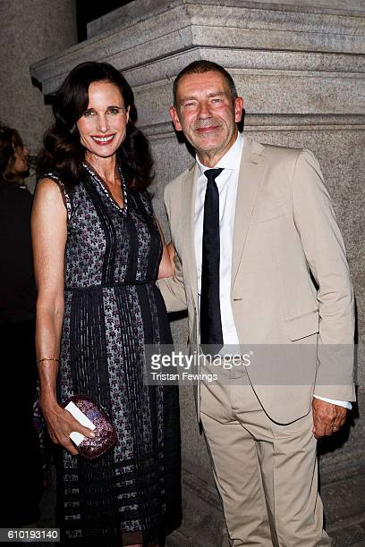 Andie MacDowell and Tomas Maier attend the dinner honouring Bottega Veneta's Tomas Maier 15th anniversary as Creative Director during Milan Fashion...