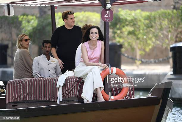 Andie MacDowell arrives by abra boat for a photocall during day six of the 13th annual Dubai International Film Festival held at the Madinat Jumeriah...