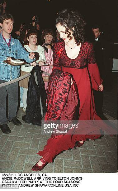 Andie MacDowell Arriving At Elton John's Oscar After Party At The Four Seasons