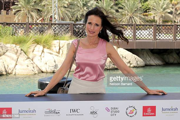 Andie MacDowell attends a photocall during day six of the 13th annual Dubai International Film Festival held at the Madinat Jumeriah Complex on...