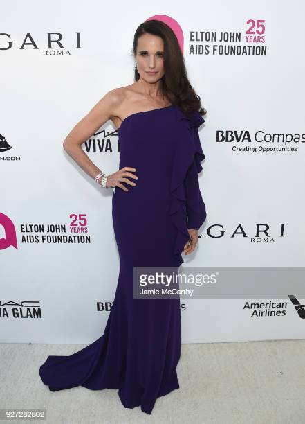 Andie MacDowell attends the 26th annual Elton John AIDS Foundation Academy Awards Viewing Party sponsored by Bulgari celebrating EJAF and the 90th...