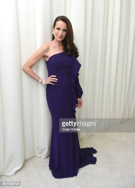 Andie MacDowell attends the 26th annual Elton John AIDS Foundation Academy Awards Viewing Party with cocktails by Clase Azul Tequila at The City of...
