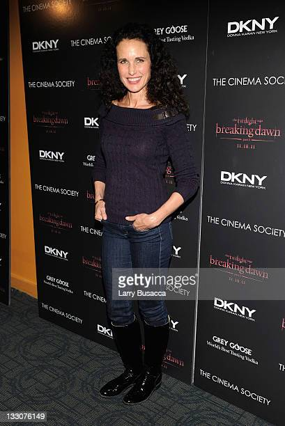 Andie MacDowell attends the Cinema Society DKNY screening of The Twilight Saga Breaking Dawn Part 1 at Landmark Sunshine Cinema on November 16 2011...