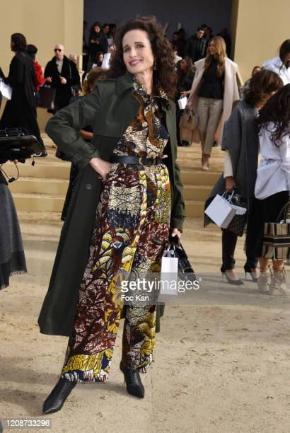 Andie MacDowell attends the Dior show as part of the Paris Fashion Week Womenswear Fall/Winter 2020/2021 on February 25 2020 in Paris France