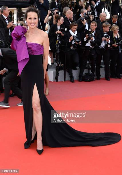 Andie MacDowell attends the 'The Meyerowitz Stories' screening during the 70th annual Cannes Film Festival at Palais des Festivals on May 21 2017 in...
