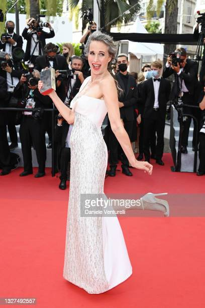 """Andie Macdowell attends the """"Tout S'est Bien Passe """" screening during the 74th annual Cannes Film Festival on July 07, 2021 in Cannes, France."""