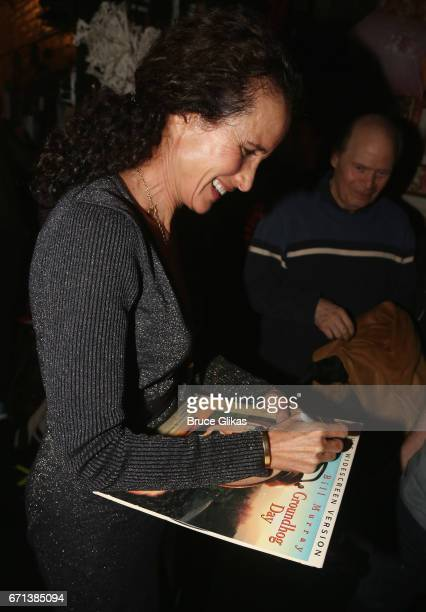 Andie MacDowell backstage at the hit musical based on the film Groundhog Day on Broadway at The August Wilson Theater on April 21 2017 in New York...
