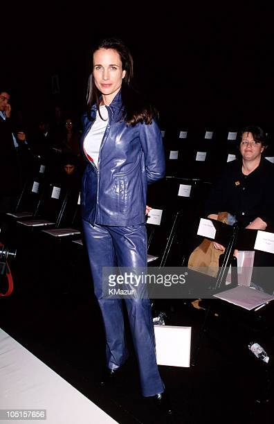 Andie MacDowell during Tommy Hilfiger Fall 1999 Fashion Show Front Row and Backstage at Roseland in New York City New York United States
