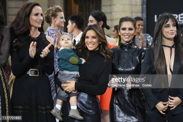 """Andie MacDowell, Eva Longoria and her son Santiago, Cheryl Cole and Camila Cabello pose on the runway during the """"Le Defile L'Oreal Paris"""" Show as..."""