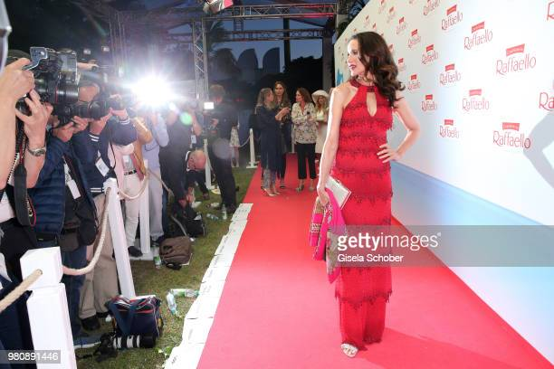 Andie MacDowell in front of then photographers during the Raffaello Summer Day 2018 to celebrate the 28th anniversary of Raffaello on June 21 2018 in...
