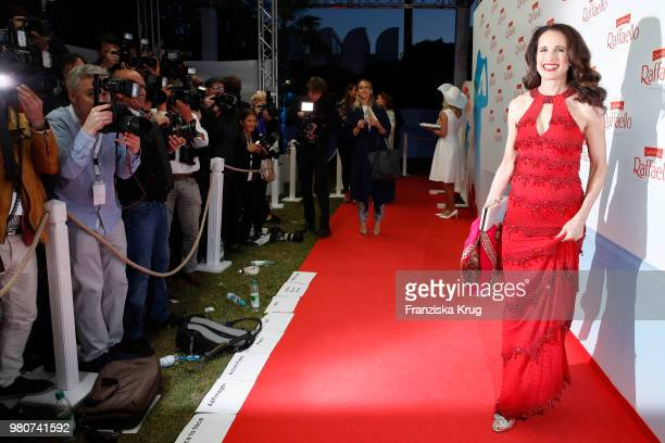 Andie MacDowell infront of then photographers during the Raffaello Summer Day 2018 to celebrate the 28th anniversary of Raffaello on June 21 2018 in...
