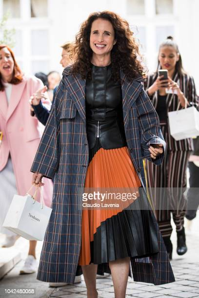 Andie MacDowell is seen after the Cedric Charlier show on September 28 2018 in Paris France