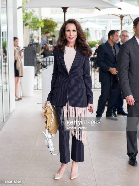 Andie MacDowell is seen at the Martinez hotel during the 72nd annual Cannes Film Festival on May 21 2019 in Cannes France