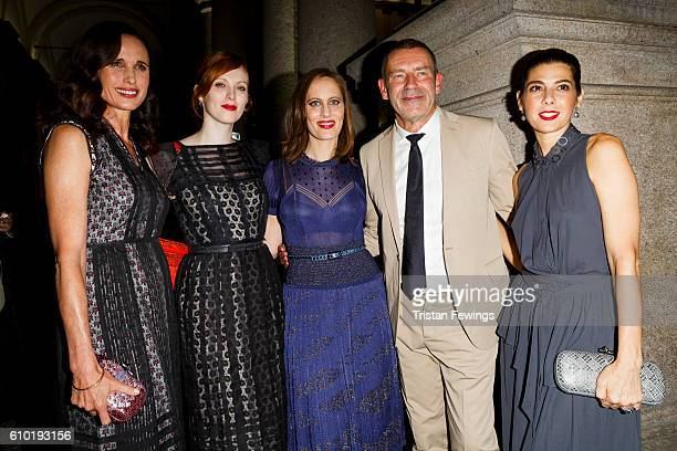 Andie MacDowell, Karen Elson, Liz Goldwyn and Tomas Maier attend the dinner honouring Bottega Veneta's Tomas Maier 15th anniversary as Creative...
