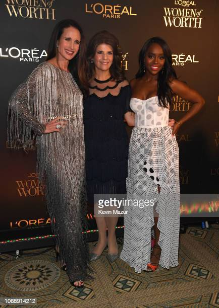 Andie MacDowell Karen Fondu and Aja Naomi King attend the L'Oréal Paris Women of Worth Celebration 2018 at The Pierre Hotel on December 5 2018 in New...